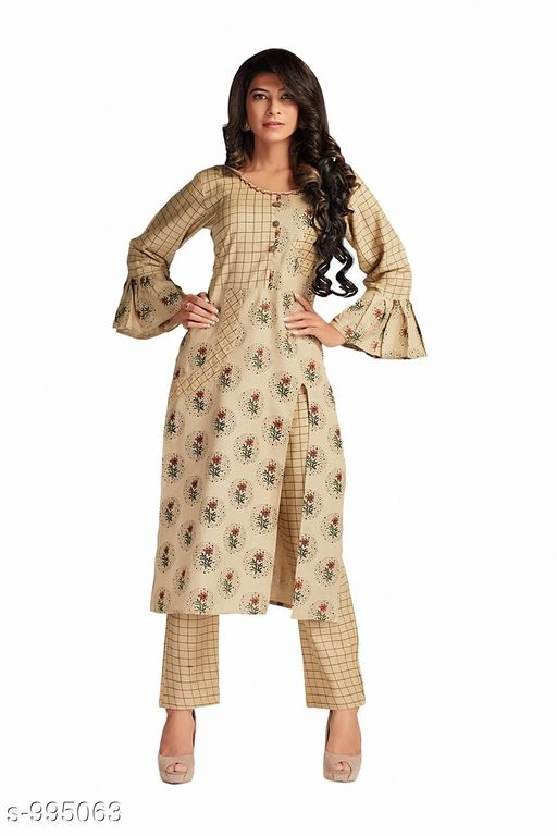 Kurta Sets Fancy Rayon Women's Kurti  *Fabric* Kurti-Rayon , Pant - Rayon  *Sleeves* 3/4 Sleeves Are Included  *Size* Kurti- M - 38 in, L - 40 in, XL - 42 in, XXL - 44 in, Pant- M - 30 in, L - 32 in, XL - 34 in, XXL - 36 in  *Length* Kurti-Up To 46 in, Pant- Up To 39 in  *Type* Stitched  *Description* It Has 1 Piece Of Kurti & 1 Piece Of Pant  *Work* Kurti-Printed, Pant- Printed  *Sizes Available* M   Supplier Rating: ★3.8 (6) SKU: V_1494_ Free shipping is available for this item. Pkt. Weight Range: 300  Catalog Name: Myhra Voguish Designer Rayon Women's Kurtis Vol 2 - PETC Code: 0001-995063--