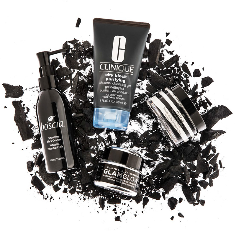 Featured: Boscia Detoxifying Black Cleanser, Charcoal Pore Pudding Intensive Wash-Off Treatment; Clinique City Block Purifying Charcoal Cleansing Gel; Glamglow Youthmud Tinglexfoliate Treatment