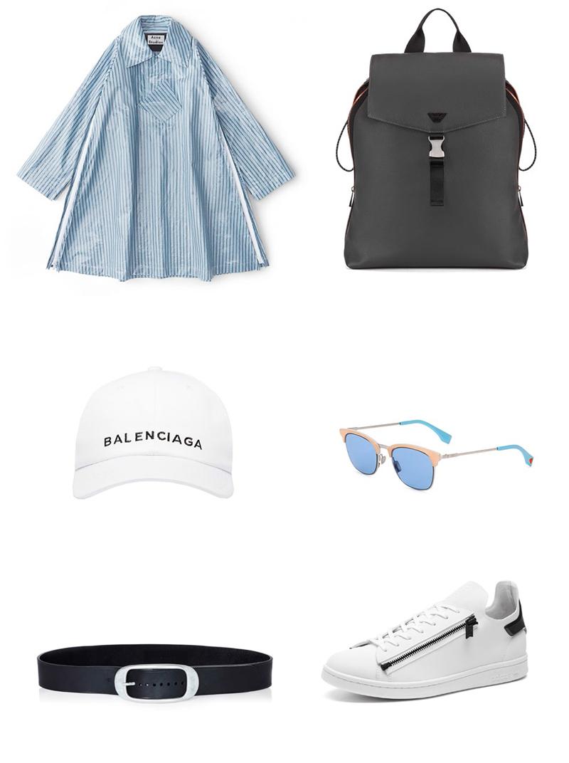 Clockwise from top left: Acne Studios Waterproof Jacket, Emporio Armani's backpack, Balenciaga cap, Fendi bubble gum sunglasses, Lanvin belt, Y-3 sneakers
