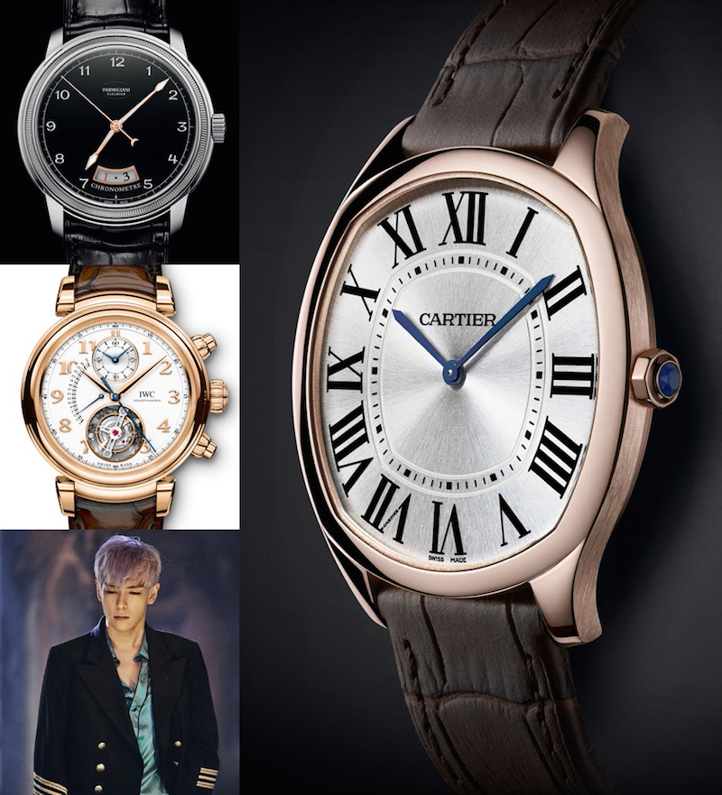Clockwise from top left: Parmigiani Fleurier, Cartier, T.O.P., IWC