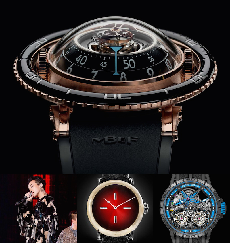 Clockwise from top: MB&F, Roger Dubuis, H. Moser & Cie., G-Dragon