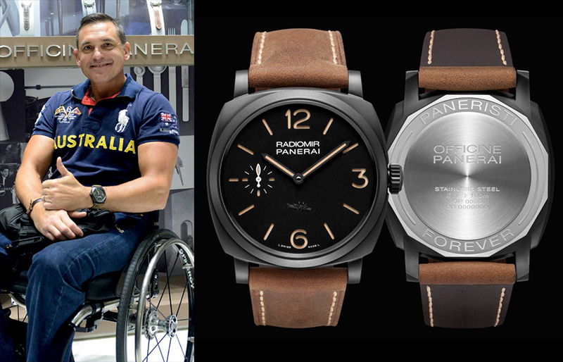 """Alan Bloore and Panerai PAM532 with """"Paneristi Forever"""" inscription"""