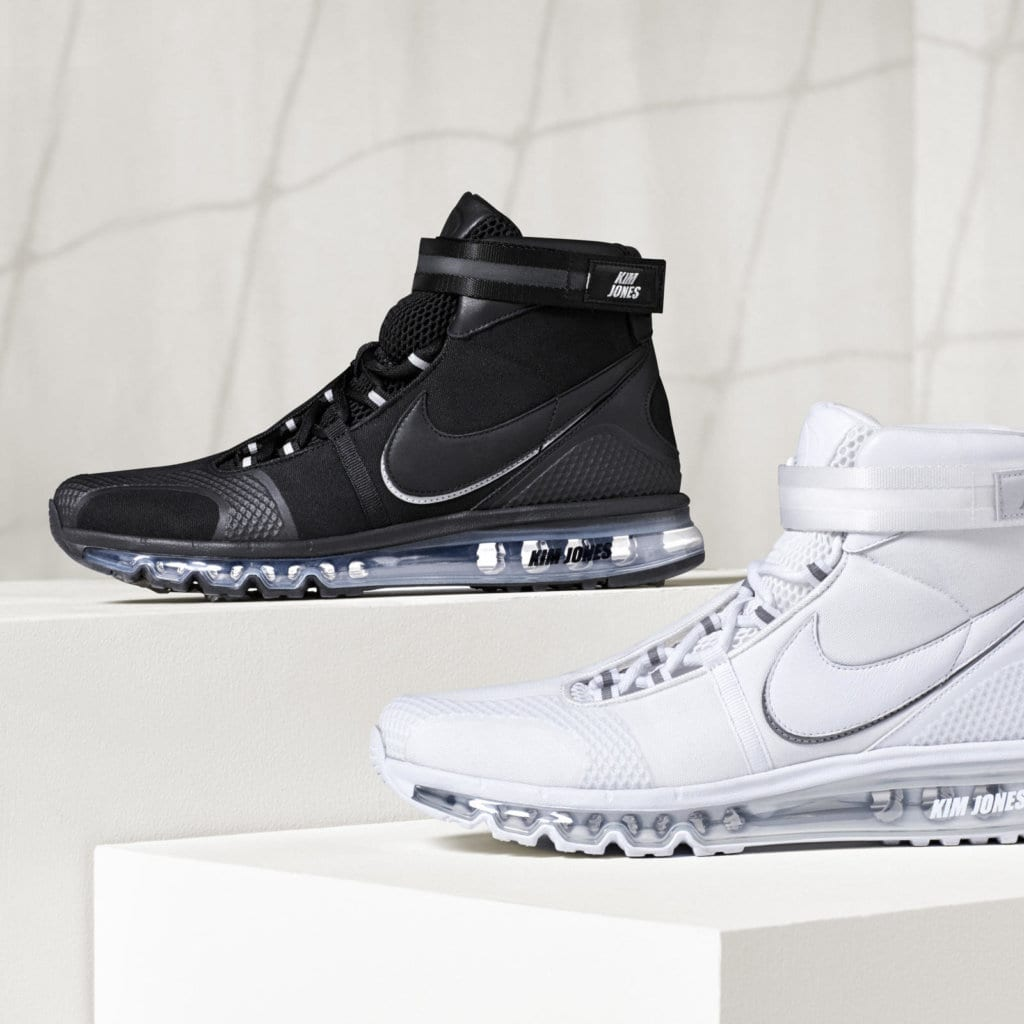 a5a7e9f3d1 ... Nike Air Max 360 Hi — will debut in two colours, black and white.  Alongside the hybrid sneakers, Jones has also redesigned the typical  football uniform ...