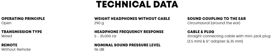หูฟัง Beyerdynamic DT 990 Edition 32 ohms Headphone Tech Spec