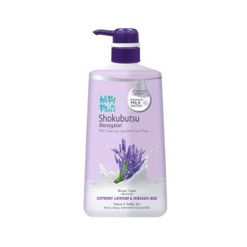 SHOKUBUTSU ครีมอาบน้ำ โชกุบุสซึ โมโนกาตาริ สูตร ซอฟเทนนิ่ง ลาเวนเดอร์ แอนด์ ฮอกไกโด มิลค์ (สีม่วง) 500 มล.