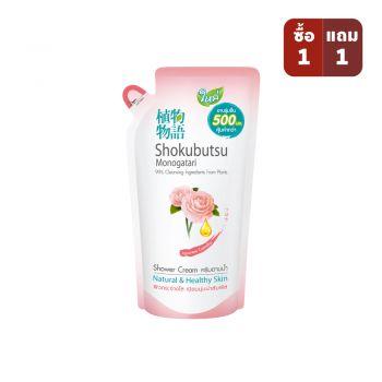 SHOKUBUTSU ครีมอาบน้ำ โชกุบุสซึ โมโนกาตริ สูตรเจแปนนิส คาเมลเลีย Japanese Camellia  500 มล. (ถุงเติม)