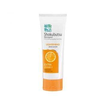 SHOKUBUTSU โฟมล้างหน้า โชกุบุสซึ โมโนกาตาริ สูตรเพื่อผิวกระจ่างใส อย่างเป็นธรรมชาติ (Lightening) ส้ม (สีส้ม) 100 กรัม