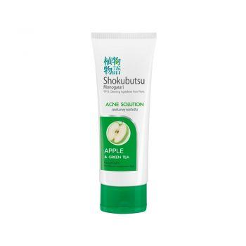 SHOKUBUTSU โฟมล้างหน้า โชกุบุสซึ โมโนกาตาริ สูตรลดการเกิดสิว (Acne Solution) แอ็ปเปิ้ล (สีเขียวเข้ม) 100 กรัม