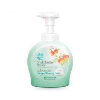SHOKUBUTSU วิปโฟม อาบน้ำ โชกุบุสซึ โมโนกาตาริ สูตรผิวเนียนนุ่ม สะอาดมั่นใจ (สีเขียว) 450 มล.