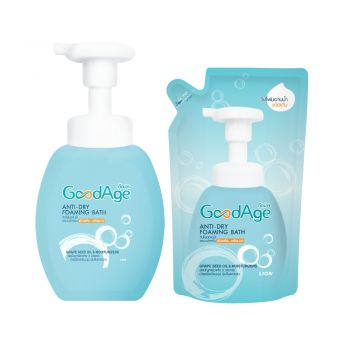 GoodAge  Anti-Dry Foaming Bath Set (โฟมอาบน้ำ  450 มล. ขวดปั๊ม + ชนิดถุงเติม 430 มล.)