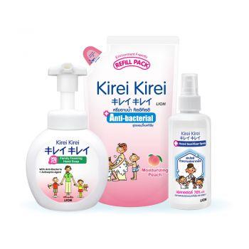 [KIREI KIREI เซ็ตสุดคุ้ม 229 บาท] โฟมล้างมือ สูตรออริจินัล ORIGINAL 250 มล. | สเปรย์แอลกอฮอล์ทำความสะอาดมือ 180 มล. | ครีมอาบน้ำ สูตรแอนตี้แบคทีเรีย กลิ่นพีช ถุงเติม 600 มล.
