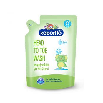KODOMO Head to Toe Wash แชมพู สบู่เหลว โคโดโม สูตร Mild Orginal 380 มล. ชนิดถุงเติม