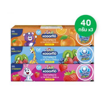 KODOMO  ยาสีฟันเด็กโคโดโม สูตรอัลตร้า ชิลด์ ชนิดเจล 40 กรัม [แพ็ค 3 หลอด กลิ่นบับเบิ้ลฟรุ๊ต, สตรอเบอรี่, ส้ม]