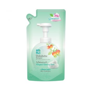 SHOKUBUTSU วิปโฟม อาบน้ำ โชกุบุสซึ โมโนกาตาริ สูตรผิวเนียนนุ่ม สะอาดมั่นใจ Momo Leaf (สีเขียว) ชนิดถุงเติม 450 มล.