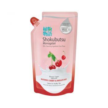 Shokubutsu ครีมอาบน้ำ โชกุบุสซึ โมโนกาตาริ สูตร Whitening Cherry & Hokkaido Milk 500 ml. (ชนิดถุงเติม)