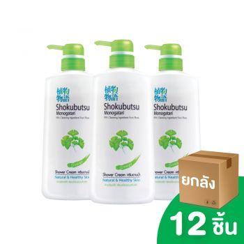 [ยกลัง] SHOKUBUTSU ครีมอาบน้ำ โชกุบุสซึ โมโนกาตาริ สูตรผิวเปล่งปลั่งเรียบเนียนชวนสัมผัส (Ginko) 500 มล. 12 ชิ้น