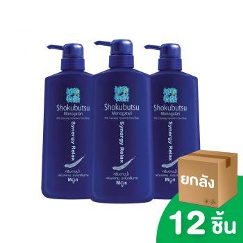[ยกลัง] SHOKUBUTSU ครีมอาบน้ำ โชกุบุสซึ โมโนกาตาริ สำหรับผู้ชาย สูตรผ่อนคลาย ระงับกลิ่นกาย (Synergy Relax) 500 มล. 12 ชิ้น