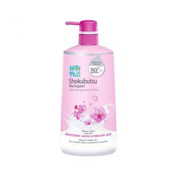 SHOKUBUTSU ครีมอาบน้ำ โชกุบุสซึ โมโนกาตาริ สูตร Brightening Sakura & Hokkaido Milk (สีชมพู) 500 มล.
