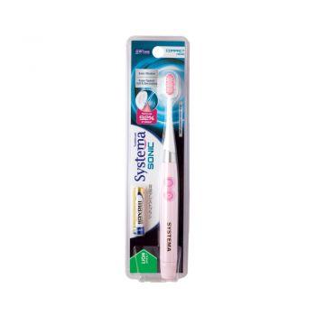 SYSTEMA SONIC แปรงสีฟัน ไฟฟ้า ซิสเท็มมา โซนิค (สีชมพู)  พร้อมถ่าน AAA 1 ก้อน