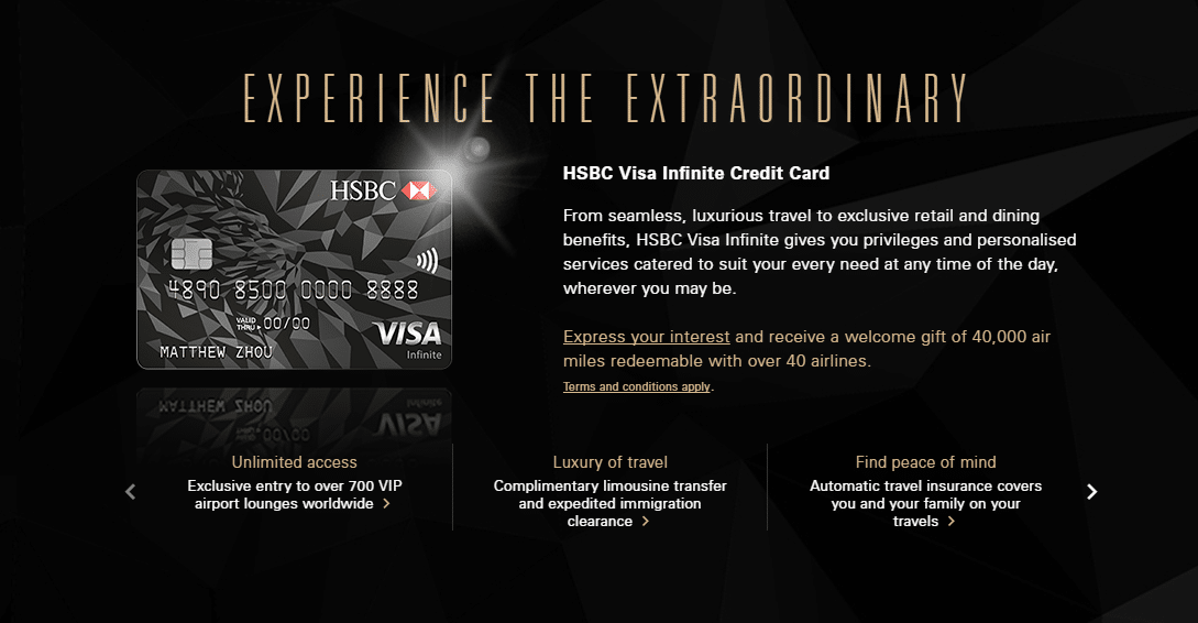 HSBC increases welcome offer for Visa Infinite card to