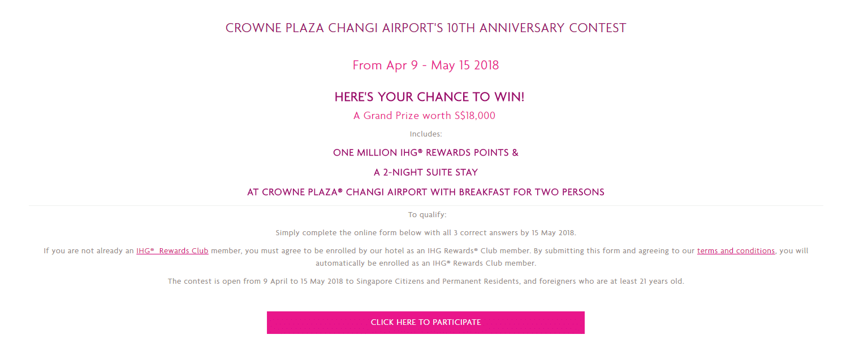 Crowne Plaza Changi Airport 10th Anniversary: 1 million IHG