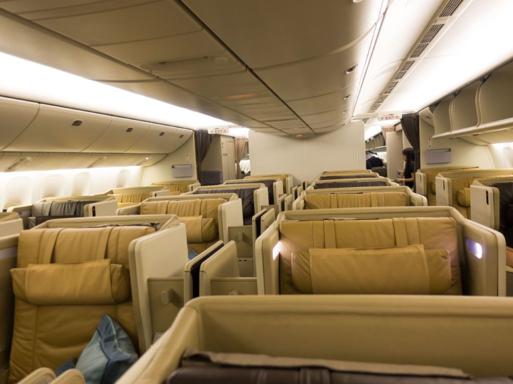 Business Class cabin on the Boeing 777-200ER