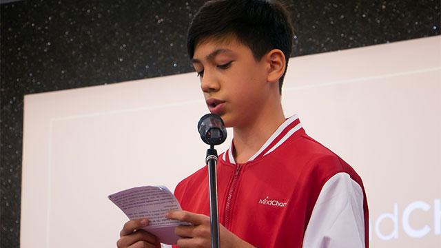 MindChamps student giving speech