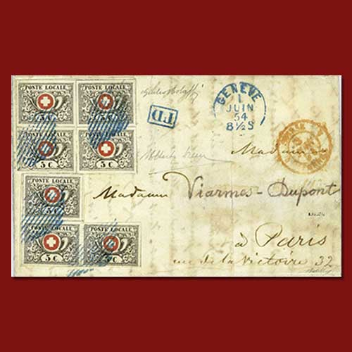 1854-cover-sent-from-Geneva-to-Paris-is-to-fetch-USD-151,000