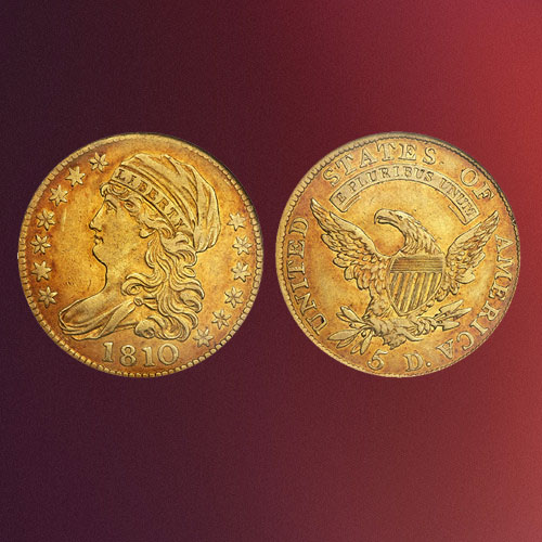 Beautifully-Toned-1810-Capped-Draped-Bust-Gold-$5-Half-Eagle