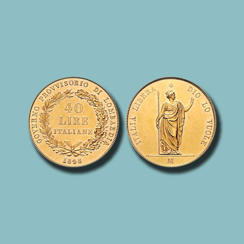Rare-Gold-40-lira-Coin-Issued-in-1848-Auctioned