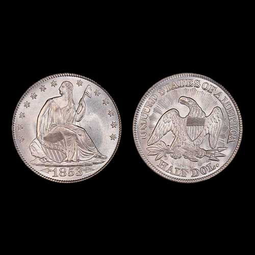1853-Seated-Liberty,-Arrows-and-Rays-Half-Dollar-Auctioned
