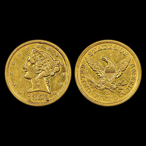 1854-S-Coronet,-No-Motto-Gold-$5-Half-Eagle-sold-for-$2.16-million