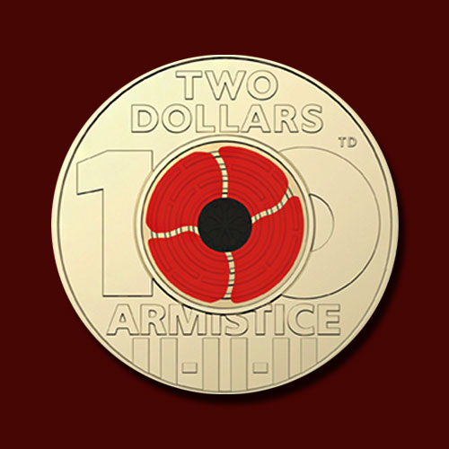 New-Coloured-Circulating-Armistice-$2-Coin-from-Australia