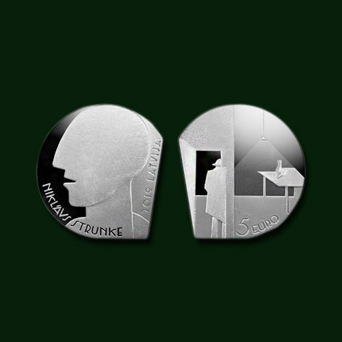 Off-shaped-Latvian-Coin-Honours-Modernist-Artist-Niklavs-Strunke