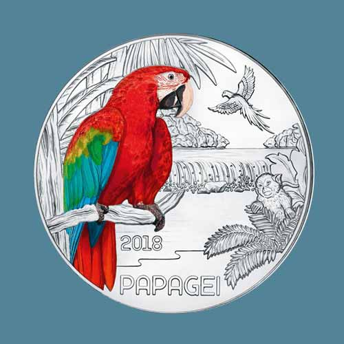 Colourful-Parrot-on-Latest-Austrian-Glow-in-the-Dark-Coin