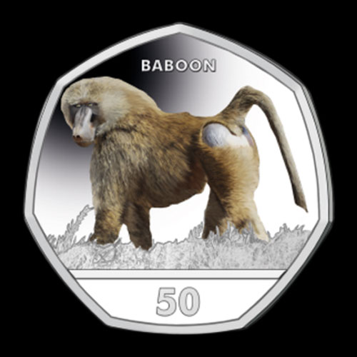 Baboon-on-Latest-Coloured-Coin-from-Gibraltar