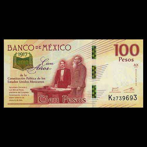 100 years of mexican constitution celebrated on banknotes mintage
