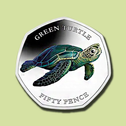 Green-Sea-Turtle-on-Latest-Pobjoy-Mint-Coins