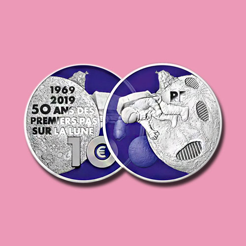 New-French-Coins-with-Blue-Resin-Application-Celebrates-Apollo-11-Mission