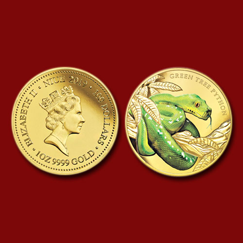 Green-Tree-Python-Featured-on-Coloured-Gold-Coin-from-Perth-Mint