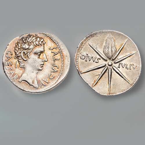 Silver-Denarius-of-Augustus-Featuring-Julian-Star