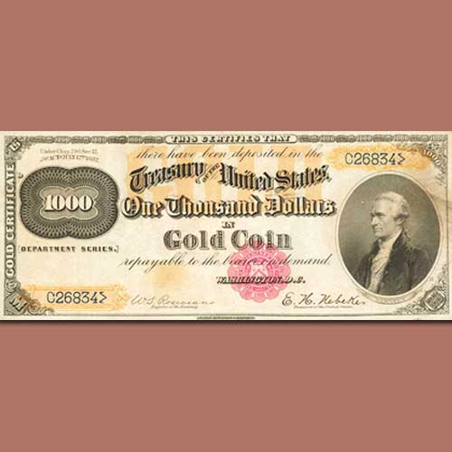 Rare-1882-$1,000-Gold-Certificate-Auctioned