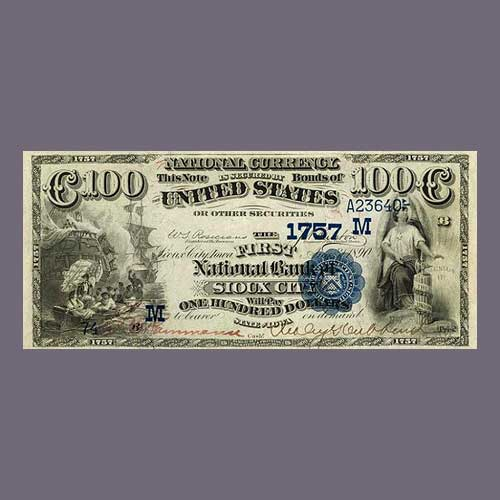 Finest-Rare-$100-Date-Back-Iowa-National-Bank-Note