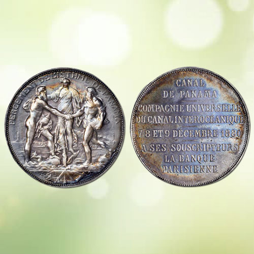 1880-Silver-Medal-Commemorating-Panama-Canal-to-be-Auctioned