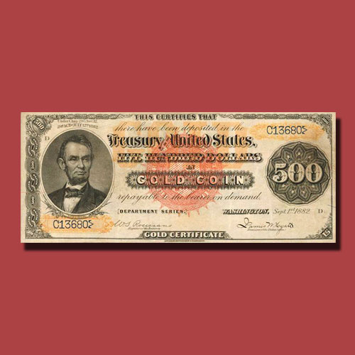 Extremely-Rare-1882-$500-Gold-Certificate-to-be-Auctioned