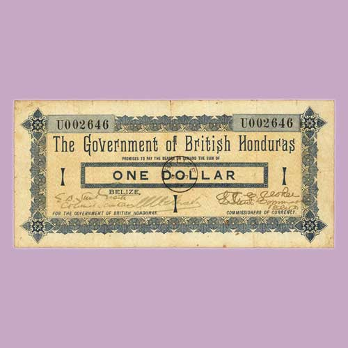 Rare-1894-$1-Note-of-British-Honduras-to-be-Auctioned