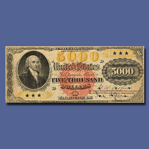 One-and-Only-1878-$5,000-Legal-Tender-Specimen-Note-to-be-Auctioned