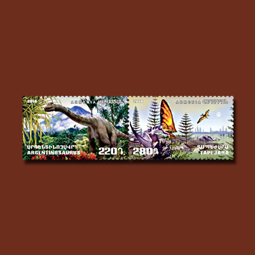 Tapejara-and-Argentinosaurus-Dinosaurs-Featured-on-Armenian-Stamps
