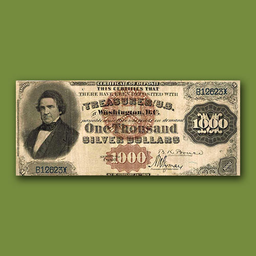 "1880-$1000-""Black-Back""-Silver-Certificate-of-Deposit-Sold"