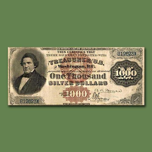 "Rare-1880-$1000-""Black-Back""-Silver-Certificate-of-Deposit"